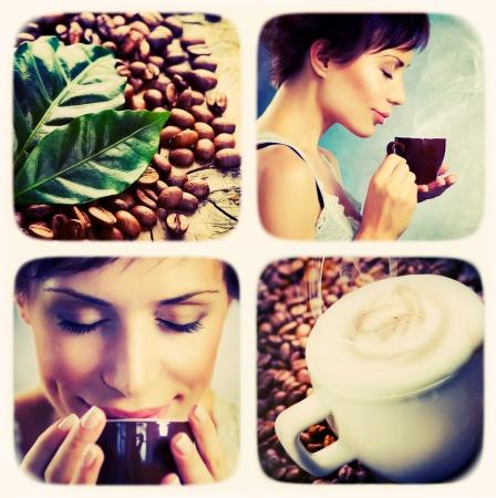 mujer tomando cafe: Caf� collage. Arte Dise�o