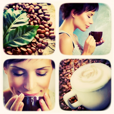 women coffee: Coffee collage. Art Design Stock Photo