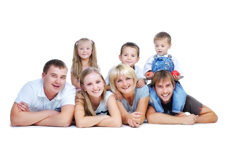 Happy Big Family. Parents with Kids  photo