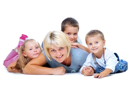 Happy Mother with kids having fun photo