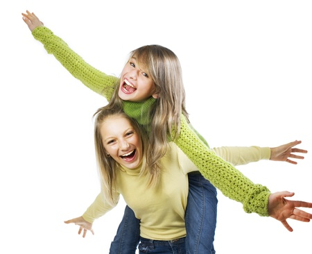 schoolgirls: Teenage Girls Having Fun. Friends. Emotions  Stock Photo