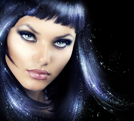 black hair: Beauty Brunette Girl with Magic Hair