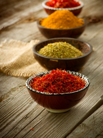 indian spices: Spices Saffron, turmeric, curry
