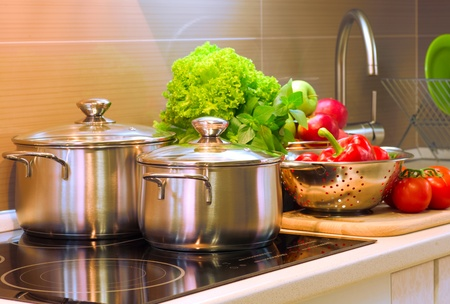stainless steel pot: Kitchen Cooking closeup  Stock Photo