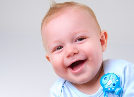 Cute Baby Boy Laughing  photo