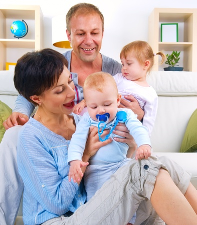 Happy Family with kids Stock Photo - 10996527