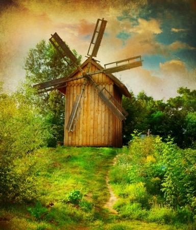 paisaje vintage: Molino de viento. Paisaje rural hermosa Foto de archivo