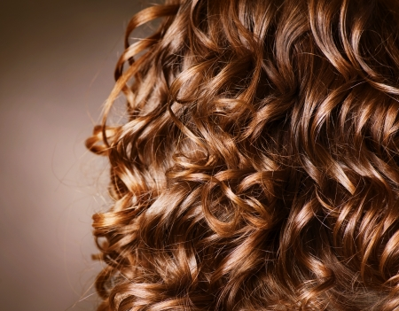 hair roller: Curly Hair. Hairdressing. Wave Stock Photo