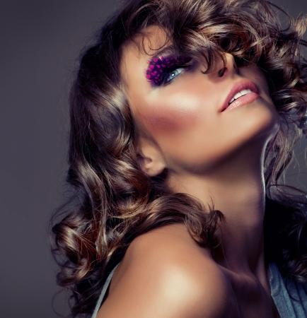 cute girl with long hair: Fashion Beauty Portrait. Sexy Girl. Wavy Hair  Stock Photo
