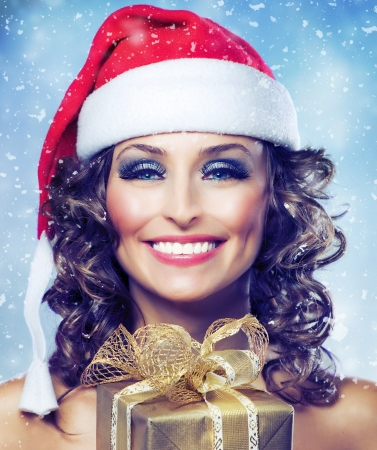 Christmas Woman with Gift  Stock Photo - 11132055