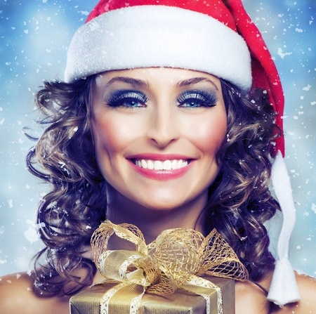 Christmas Woman with Gift  photo
