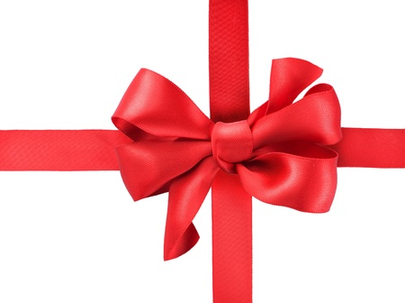 nastro angolo: Red satin fiocco regalo. Ribbon. Isolato su bianco