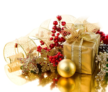 Christmas Gift box with decorations Stock Photo - 11329967