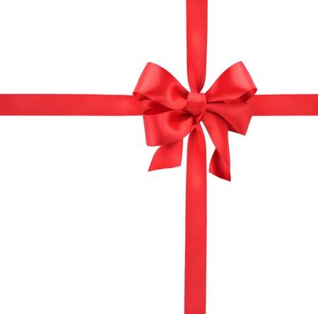 Rode satijnen strik geschenk. Lint. Geà ¯ soleerd op wit