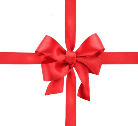 Red satin gift bow. Ribbon. Isolated on white  Stock Photo - 11329955