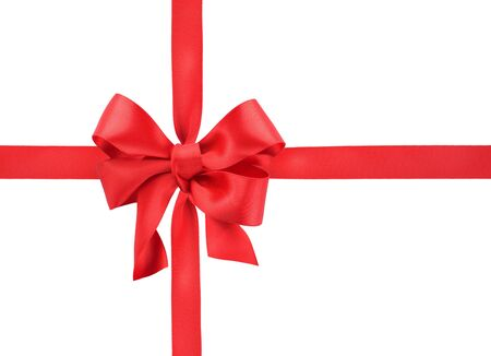 Red satin gift bow. Ribbon. Isolated on white  Stock Photo - 11329958