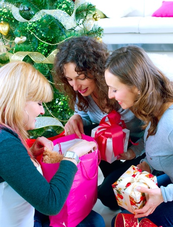 Christmas Party. Friends with Christmas Gifts Stock Photo - 11329978