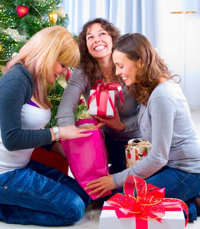Christmas Party. Friends with Christmas Gifts Stock Photo - 11329976
