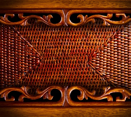 rattan: Vintage Carved Wood Background  Stock Photo