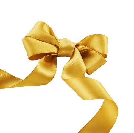 fiocco oro: Bow oro su uno sfondo bianco