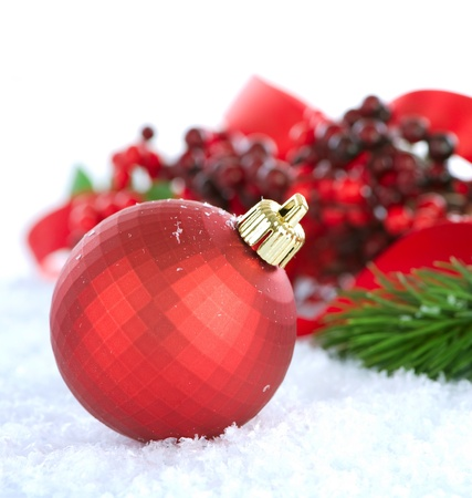 Christmas Decorations over white background  photo