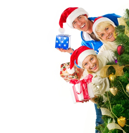 x mas: Christmas Family isolated on white