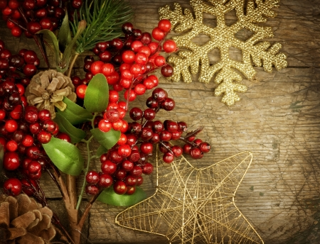 Christmas Vintage decorations over old wood background  photo