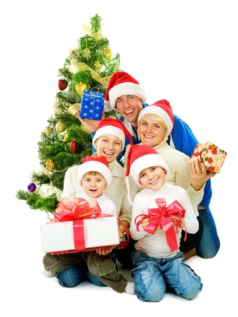 Christmas Family isolated on white  Stock Photo - 11559874