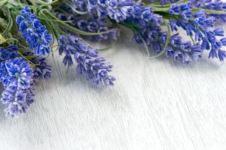 wooden aromatherapy: Lavender flowers over white  Stock Photo
