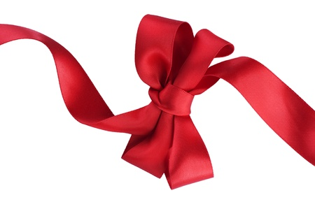 Red satin gift bow. Ribbon. Isolated on white Stock Photo - 11559895