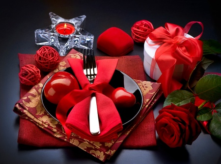 Romantic Dinner. Place setting for Valentine photo