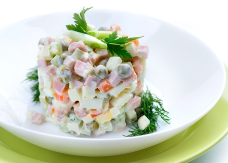 Salad Olivier. Russian traditional salad  Stock Photo