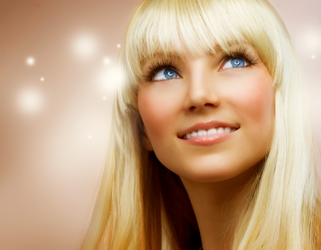 hair shampoo: Pretty Teenage Girl with Healthy blond Hair Stock Photo