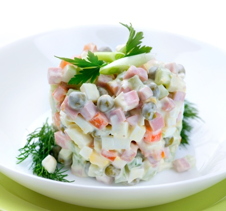 mayo: Salad Olivier. Russian traditional salad  Stock Photo