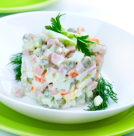 Salad Olivier. Russian traditional salad  photo