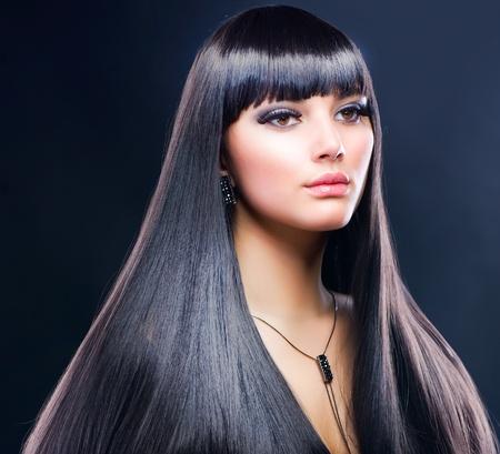 Beautiful Brunette Girl. Healthy Long Hair  photo