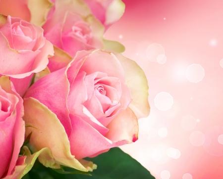 Rose Flower Art Design. Wedding Card  photo
