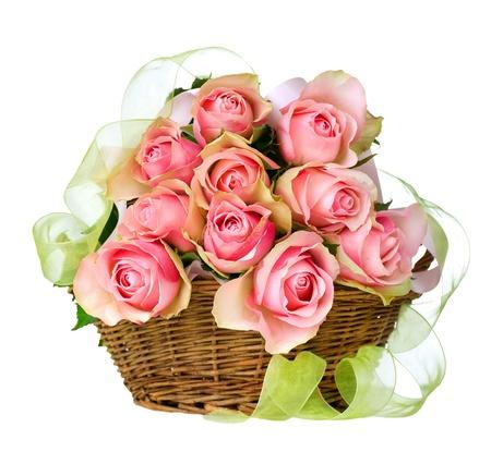 bouquet fleur: Roses dans le panier