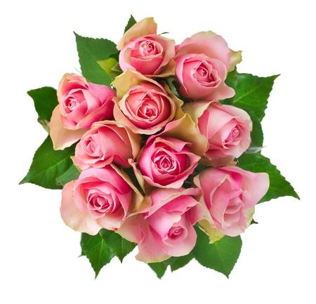 ramos de flores: Rose Bouquet flores aisladas en blanco Foto de archivo