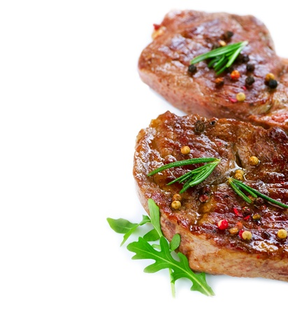 Grilled Beef Steak Isolated On a White Background Stock Photo - 12382053