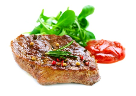 Grilled Beef Steak Isolated On a White Background Stock Photo - 12382032