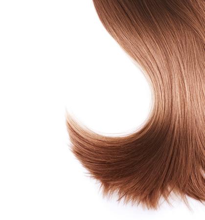 人間の髪の毛: 白で隔離される健康な茶色の髪