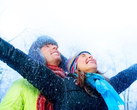 Happy Young Couple In Winter Park Having Fun Stock Photo - 12631881