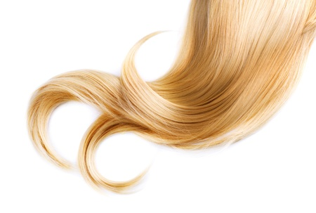 hair cut: Healthy Blond Hair Isolated On White Stock Photo