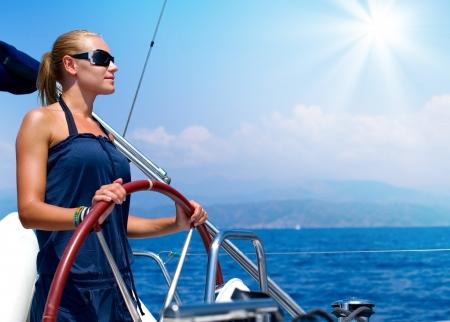 timone: Yacht a vela Archivio Fotografico