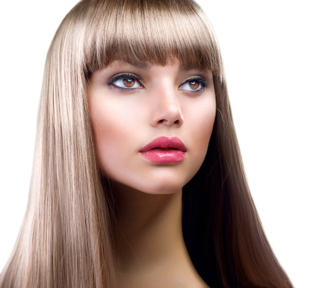 Beautiful Woman With Straight Long Hair Over White  photo