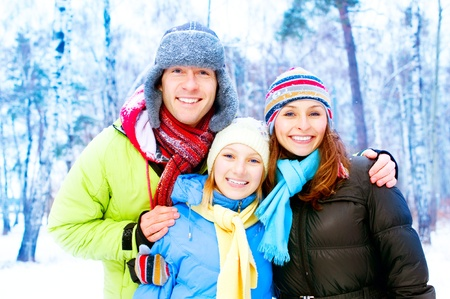 having fun in the snow: Happy Family Outdoors. Snow. Winter Vacation