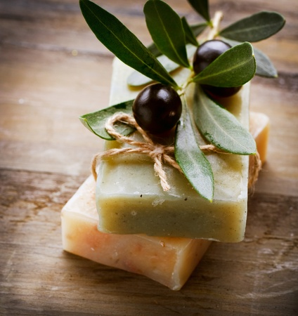 olive leaves: Natural Handmade Soap and Olives  Stock Photo