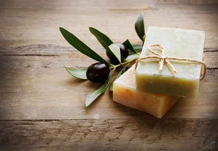 organic background: Natural Handmade Soap and Olives  Stock Photo