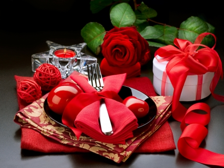 Romantic Dinner. Place setting for Valentine Stock Photo - 12382096